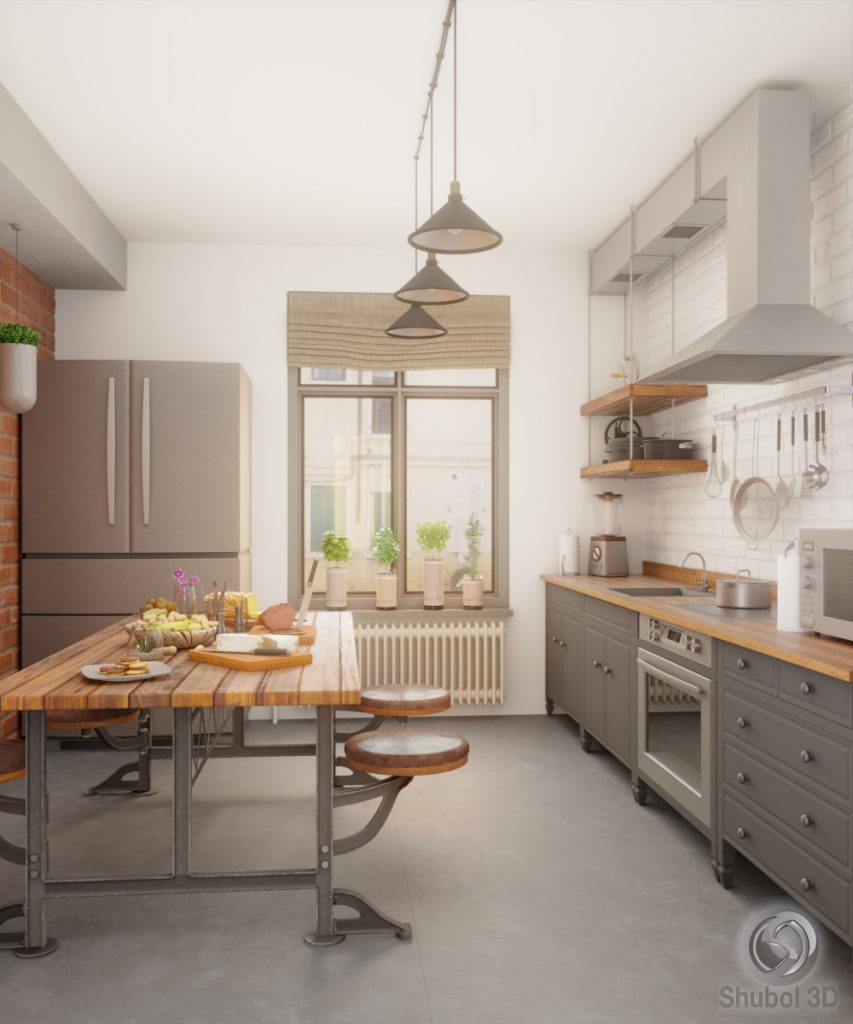 Industrial kitchen 3D visualization